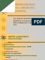 Clase de Inmunohematologia en Medicina Transfusional