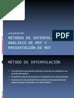 MÉTODOS DE INTERPOLACIÓN, Análisis de MDT y