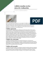 Formas de validez usadas en los instrumentos de evaluación