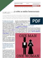 O que não se diz sobre as uniões homossexuais