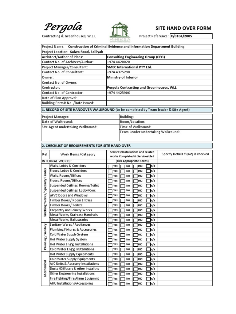 Site Hand Over Form | Building Technology | Building Engineering