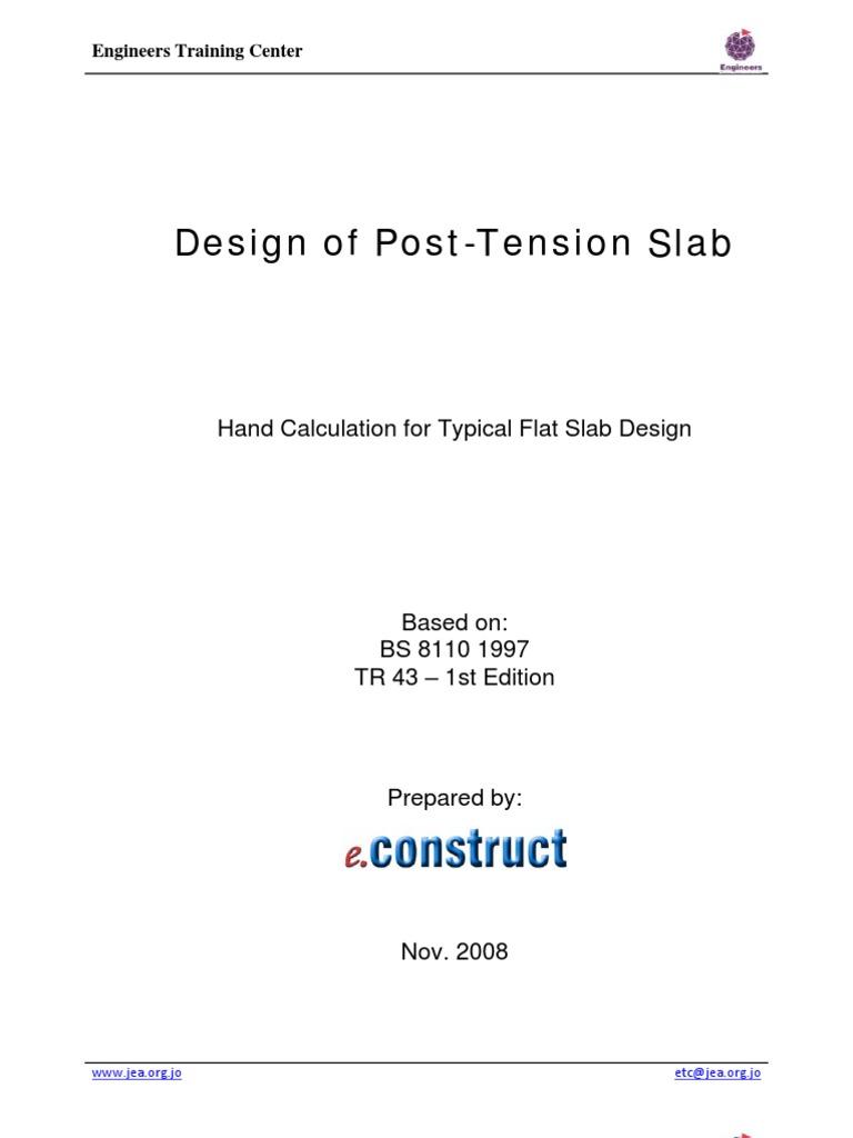 post tension flat slab design example prestressed concrete rh pt scribd com Two-Way Flat Plate Design Concrete Slab Design