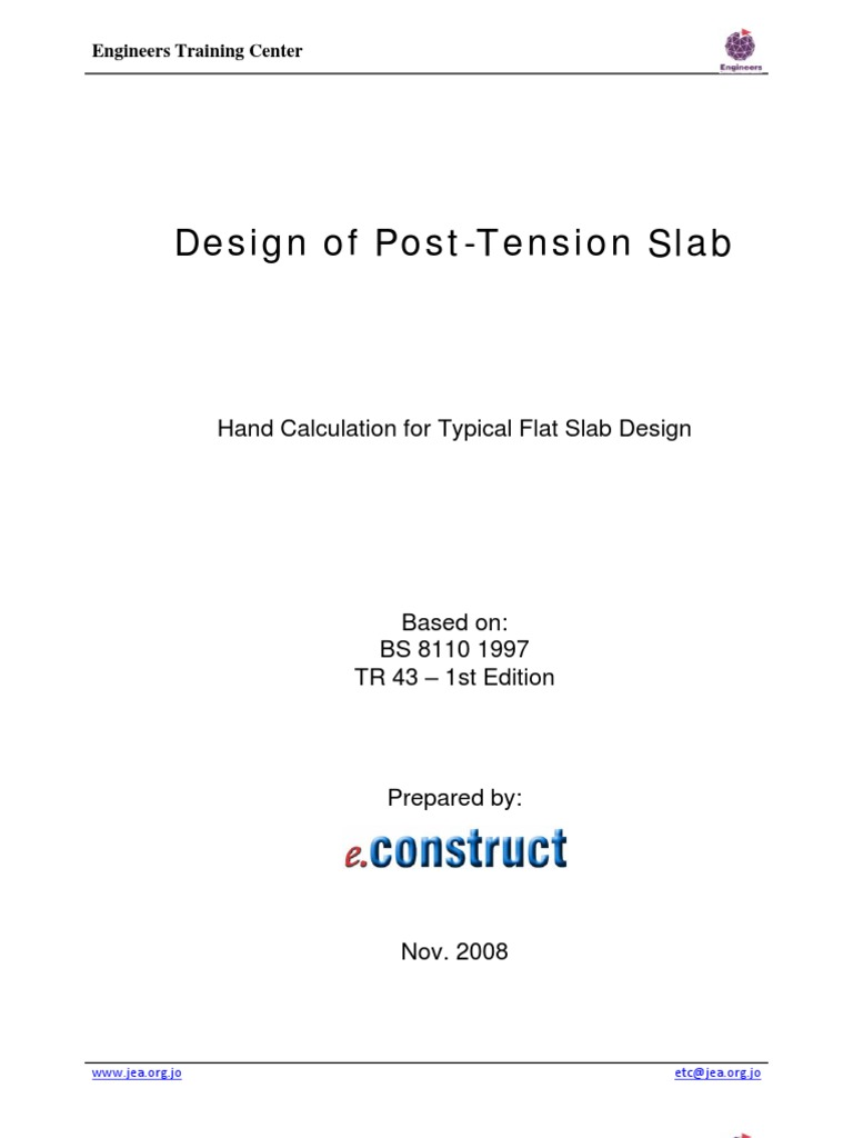 Post-tension Flat Slab Design Example | Strength Of