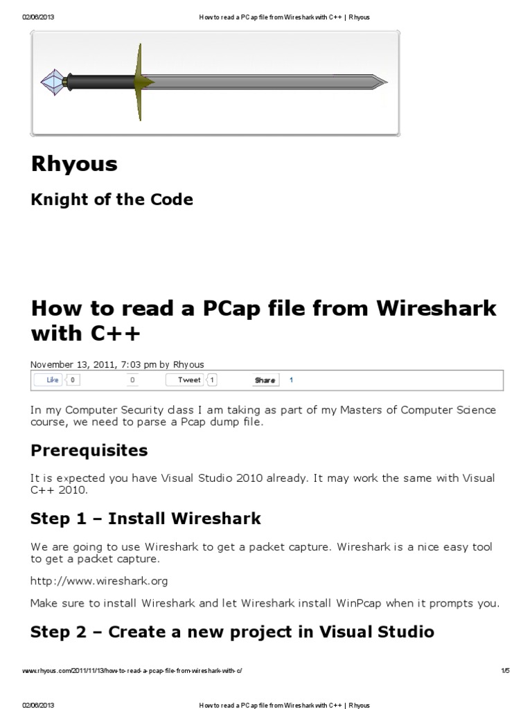 How to Read a PCap File From Wireshark With C++ _ Rhyous | Port