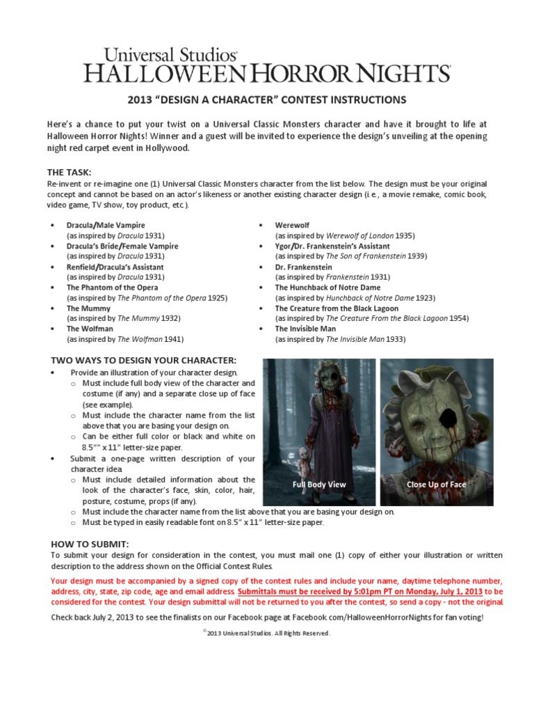 HHN Character Design Fan Contest Rules Arbitration Damages - Character design document