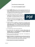 Answer Sheet Instructions