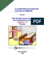 Educatia pentru protectia elevilor in caz de cutremur pentru clasele I - II