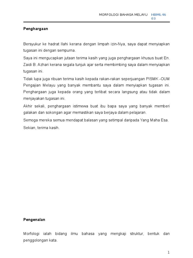 Morfologi Bahasa Melayu