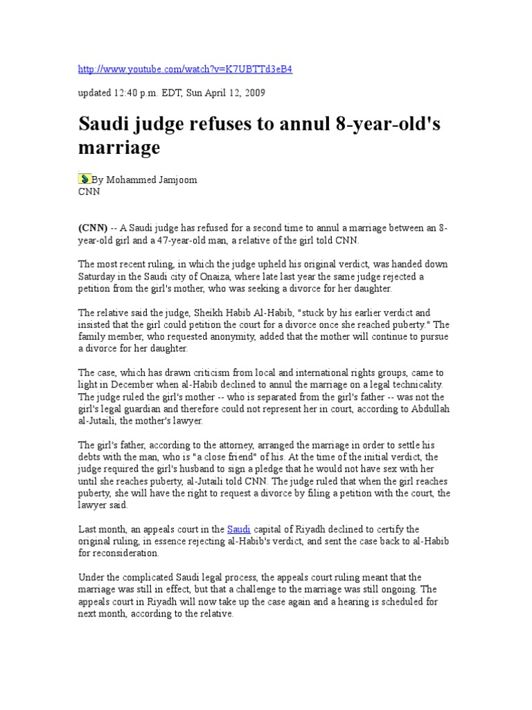 Essay Test Child Marriage | Saudi Arabia | Child Marriage