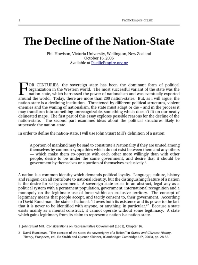 the decline of the nation state | global governance | sovereign state