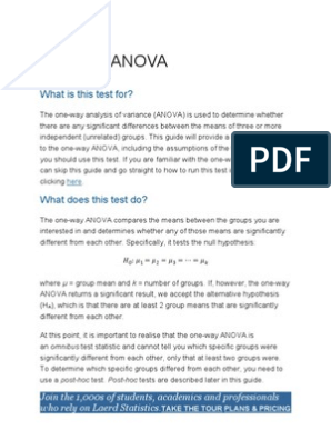 One-way ANOVA: What is this test for?