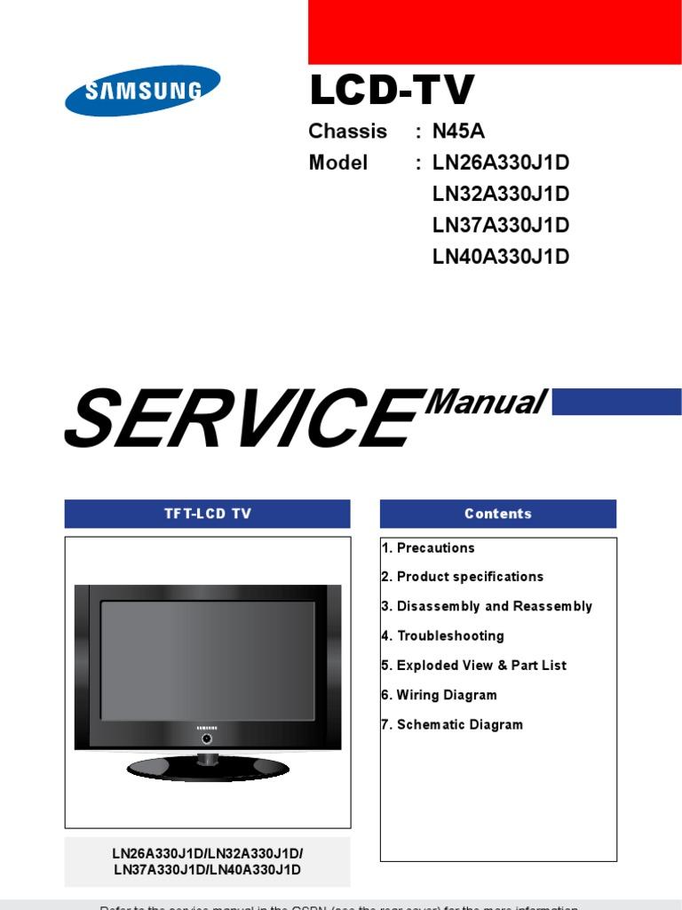 samsung ln52a550p3f ln46a550p3f ln40a550p3f tv service manual