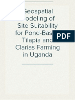 Geospatial Modeling of Site Suitability for Pond-Based Tilapia and Clarias Farming in Uganda