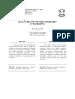 Mantsie R. W, 2008, Qualité des institutions monétaires et croissance, E93A6
