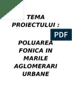 Poluarea Fonica in Marile Aglomerari Urbane