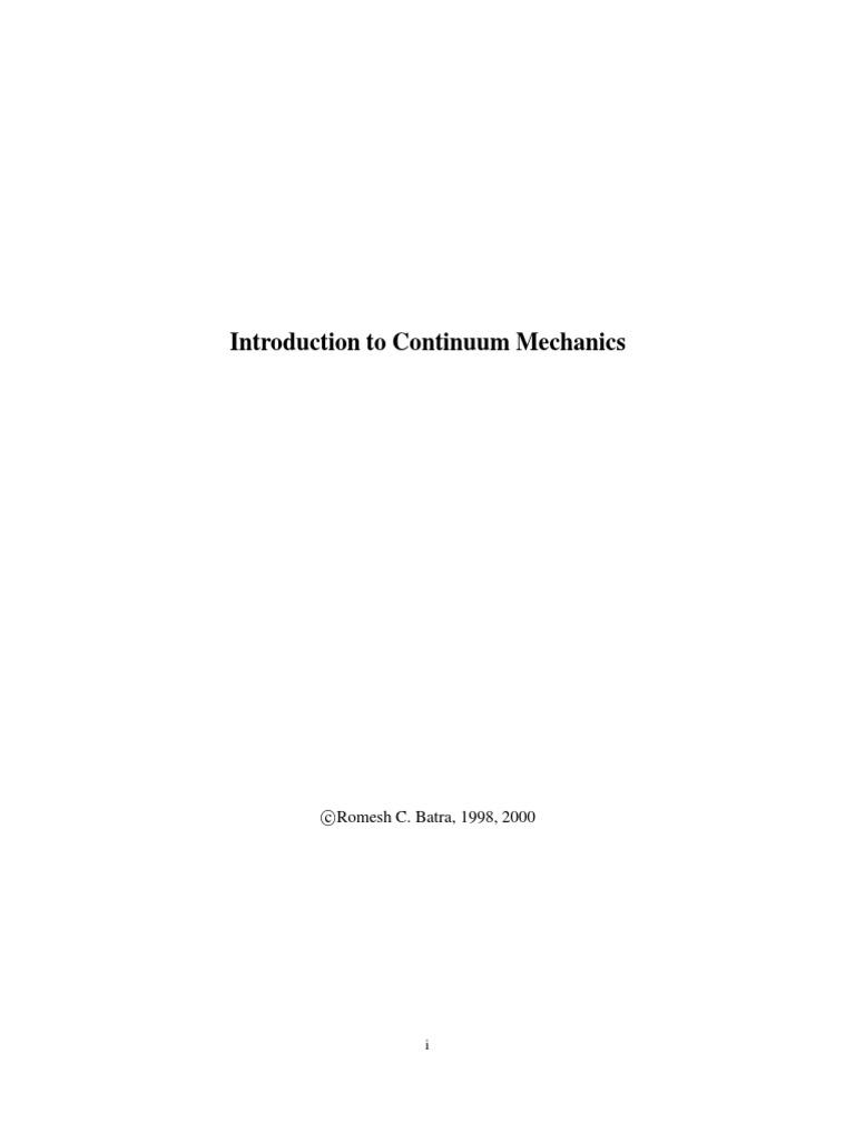 batra continuum mech notes linear elasticity deformation mechanics rh scribd com