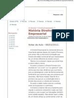 História Direito Empresarial - Direito UFMG