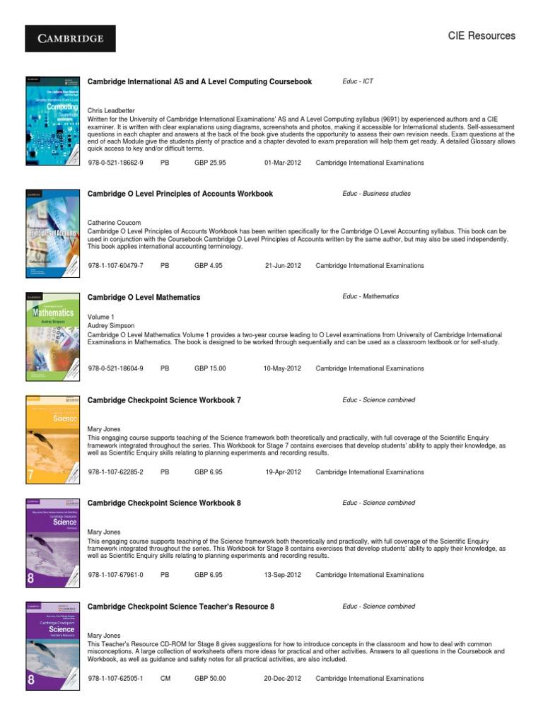 CIE Resources | Textbook | Test (Assessment)