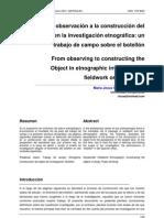 De la observación a la construcción del objeto en la investigación etnográfica