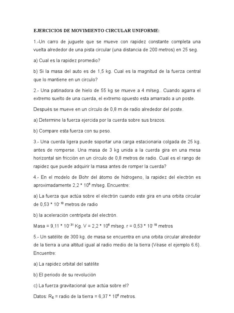 13785326 Ejercicios De Movimiento Circular Uniforme