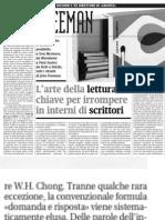 L'arte della lettura,Tommaso Pincio su John Freeman - Alias 09.06.2013