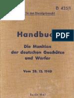 D.435-1 Handbuch Die Munition Der Deutschen Geschutze Und Werfer - 28.12.1940