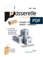 Annales Passerelle Esc 2007