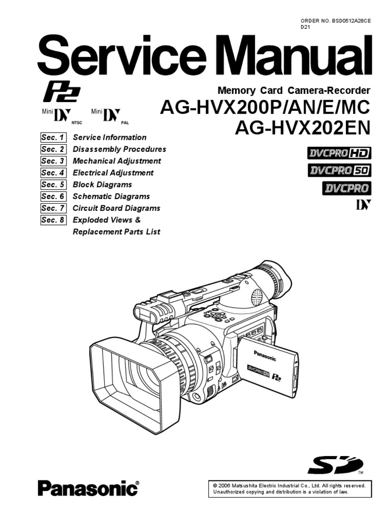 Panasonic+Ag-hvx200p an e Mc%2c+Ag-hvx202en+Parts%2c