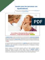 Tips Nutricionales Para Las Personas Con Hipotiroidismo