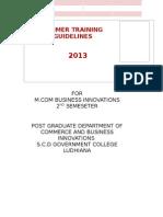 Summer Internship Guidelines for M.com Business Innovations