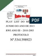 ATA DE PLAY LIST DO ÚLTIMO DIA DE MAIO