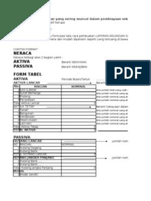 Contoh Format Laporan Keuangan Ukm