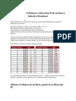 Cómo Obtener el Número o Dirección IP de un Host o Subred y Broadcast