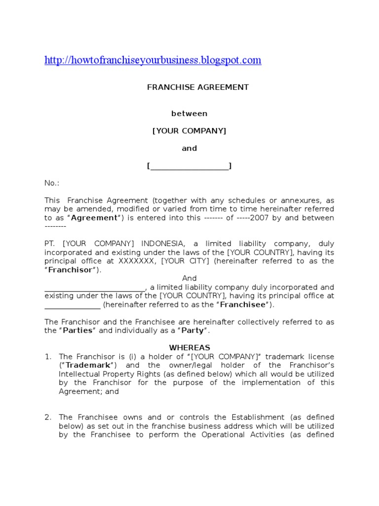 Franchise Agreement Franchising Intellectual Property