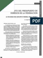 Decreto del Presupuesto de Egresos de la Ferecación La Facultad Del Ejecutivo Para Vetarlo