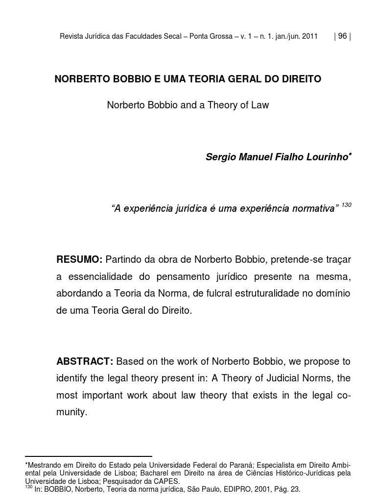 Teoria geral do direito (pdf) | por norberto bobbio | orelha de livro.