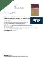 Paul and Stoicism- Romans 12 as a Test Case