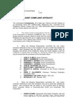 Joint Complaint Affidavit filed by some citizens vs. Comelec