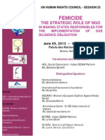 FEMICIDE THE STRATEGIC ROLE OF NGO IN MAKING STATES RESPONSIBLES FOR THE IMPLEMENTATION OF DUE DILIGENCE OBLIGATION