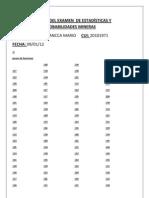 SOLUCION DEL EXAMEN  DE ESTADÍSTICAS Y PROBABILIDADES MINERAS