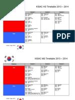 kisac season timetable