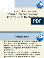 Presumption of Innocence in Romanian Law and European Court of Human Rights Cases