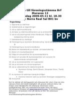 Kallelse till föreningsstämma 2009 utskickas