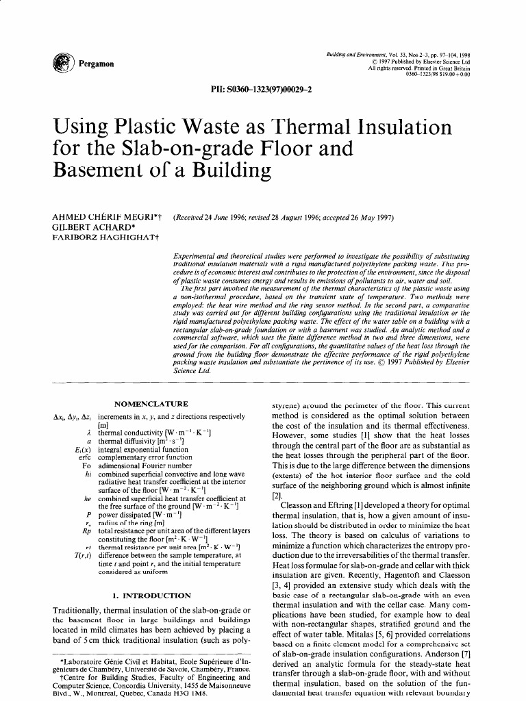 Using plastic waste as thermal insulation for the slab-on-grade