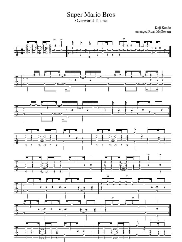 Super Mario Bros Overworld Theme Sheet Music For Guitar Tab Video Game Design Leisure Activities
