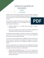 DECADÊNCIA E MORTE DE SALOMÃO