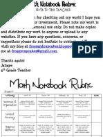 Math Notebook Rubric