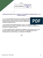 Boletin UNAM sobre suspensión de clases
