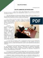 20/05/12 Germán Tenorio Vasconcelos RECONOCE GTV LABOR DE LOS PSICÓLOGOS