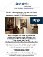 Sotheby's Paris Achieves Highest Contemporary Art Evening Sale Total of the Paris Summer Sale Season
